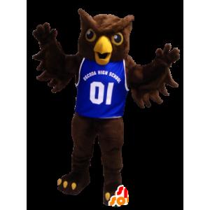 Brązowy sowa maskotka z niebieskiej koszuli - MASFR20424 - ptaki Mascot