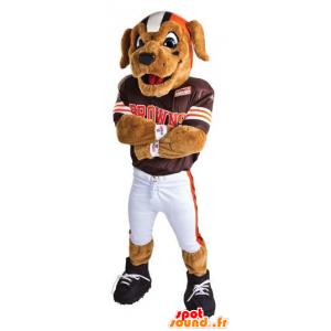 Hond mascotte gekleed in American football - MASFR20441 - Dog Mascottes