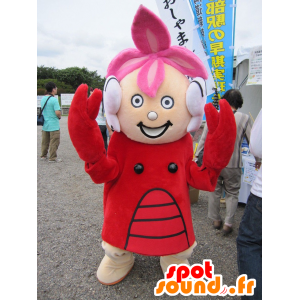 Girl mascot dressed in lobster costume