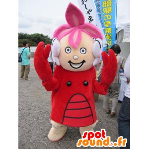 Mascotte de fillette habillée en costume de homard