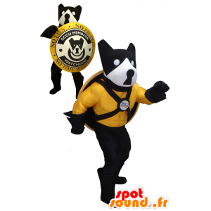 Black dog mascot, yellow and white with a shield - MASFR20454 - Dog mascots