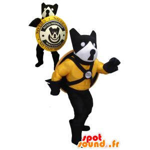 Schwarzer Hund Maskottchen, gelb und weiß mit einem Schild - MASFR20454 - Hund-Maskottchen