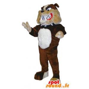 Mascot bulldog bruin, beige en wit - MASFR20459 - Dog Mascottes