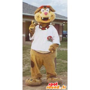 Mascotte de chien marron et beige avec un t-shirt blanc - MASFR20472 - Mascottes de chien