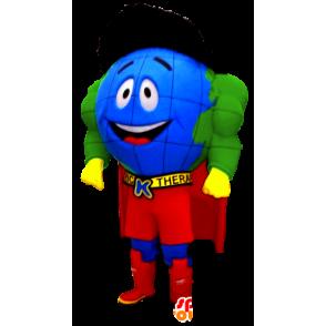 Mascotte de mappemonde super-héros - MASFR20483 - Mascotte de super-héros