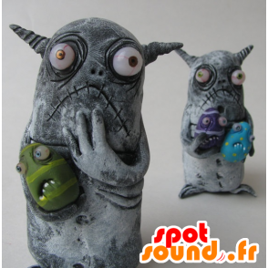 2 mascottes de petits monstres gris - MASFR20487 - Mascottes de monstres