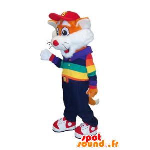 Μασκότ της λίγο πορτοκαλί και λευκό αλεπού στην πολύχρωμη στολή