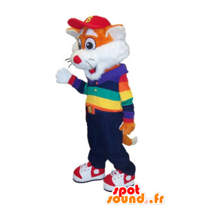 Mascotte small orange and white fox colorful outfit