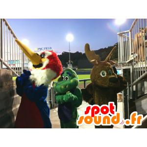 3 mascots, bird, brown reindeer, and a green dragon - MASFR20523 - Mascot of birds