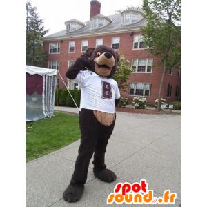 A brown bear mascot with a white shirt - MASFR20525 - Bear mascot