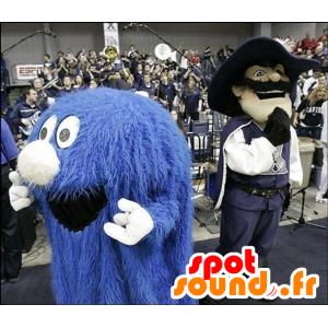 Mascot of little blue monster, all hairy - MASFR20532 - Monsters mascots