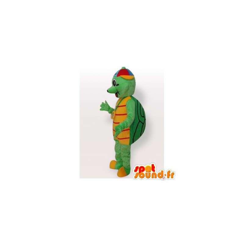 Verde de la mascota y la tortuga de color amarillo con un sombrero ...