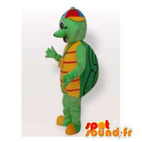 Pet turtle with a green and yellow colored cap - MASFR006416 - Mascots turtle