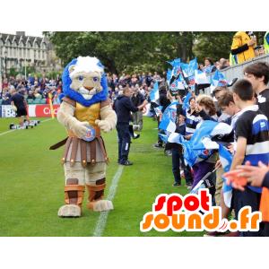 Gespierde leeuw mascotte gekleed als een ridder