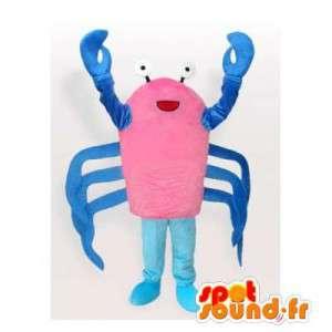 Mascotte de crabe rose et bleu. Costume de crabe