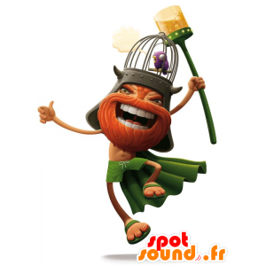 Mascot Viking skjeggete, kledd i oransje og grønt - MASFR20560 - Maskoter Soldiers