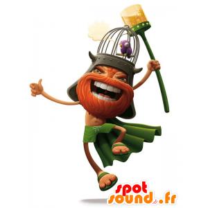Vichingo mascotte barbuto, vestito di arancione e verde