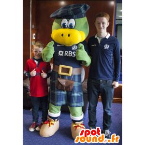 Maskotka zielony i żółty ptak, ubrany w Szkocji - MASFR20571 - ptaki Mascot