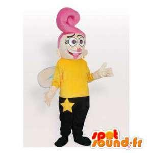 Mascot hadas amarillo y negro con el pelo rosa