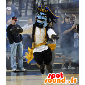Blå piratmaskot, i traditionel kjole - Spotsound maskot kostume