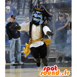Mascot pirata azul no vestido tradicional