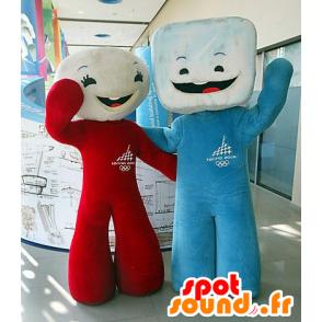 2 mascottes de chamallow, de sucre en morceaux - MASFR20584 - Mascottes Fast-Food