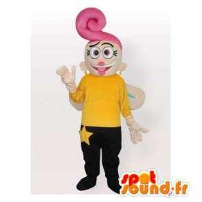 Mascotte de fée jaune et noir avec des cheveux roses - MASFR006418 - Mascottes Fée