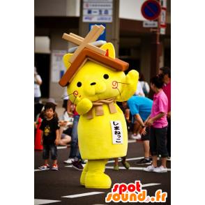 Keltainen kissa maskotti kanssa talon katto pään päällä - MASFR20595 - maskotteja House