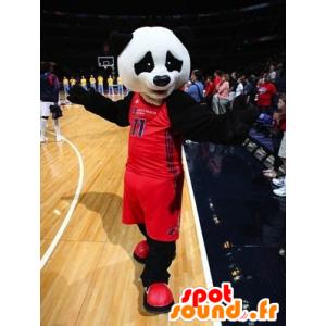 Mascot panda blanco y negro en ropa deportiva