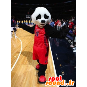 Mascotte zwart-witte panda in sportkleding