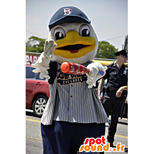 White and yellow duck mascot in sportswear