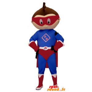 Mascotte de petit garçon habillé en tenue de super-héros