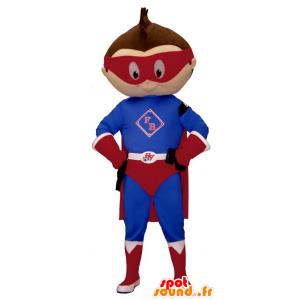 Mascotte niño pequeño vestido como traje de superhéroe