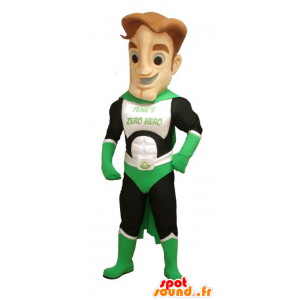 Green superhero mascot, white and black