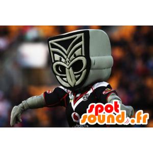 Mascot Maori standbeeld, grijs en zwart - MASFR20637 - Niet-ingedeelde Mascottes