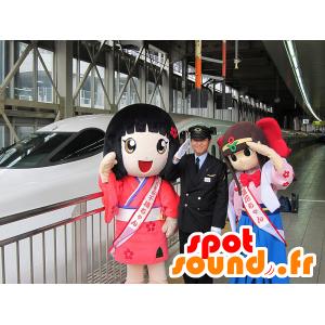 日本の女の子のマスコット2体、マンガ-MASFR20644-子供のマスコット