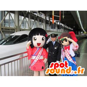 2 mascots Japanese girls, manga - MASFR20644 - Mascots child