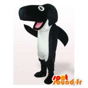 Mascotte de requin noir et blanc. Costume de requin