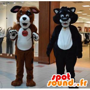 2 huisdieren, een kat en een gigantische hond - MASFR20650 - Dog Mascottes
