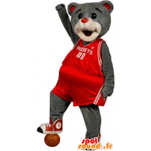 Mascotte orso grizzly, vestita di rosso sport - MASFR20653 - Mascotte orso