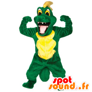 Green and yellow crocodile mascot