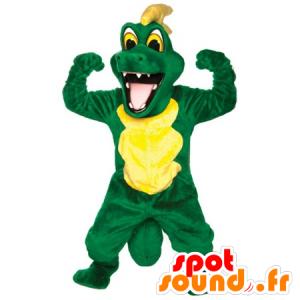 Vihreä ja keltainen krokotiili maskotti