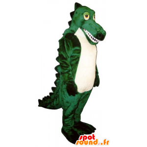 Green and white crocodile mascot