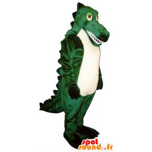 Mascote crocodilo verde e branco