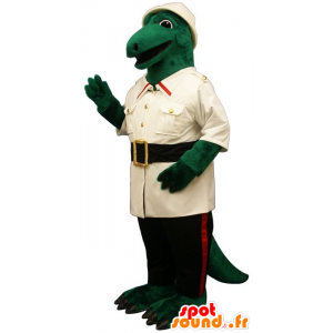 Green crocodile mascot dressed in explorer
