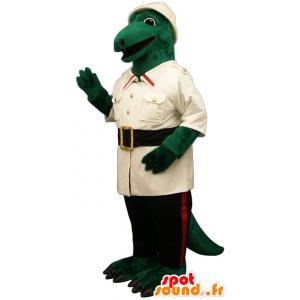 Zielony krokodyl maskotka ubrana w eksploratorze