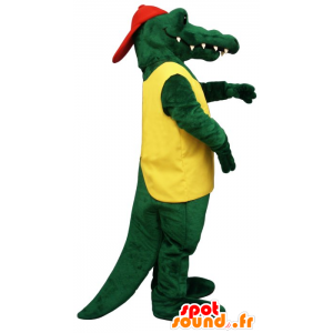 Green crocodile mascot holding yellow and red - MASFR20661 - Mascot of crocodiles