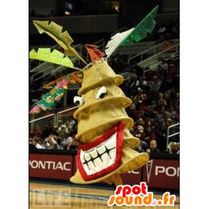 Mascot gigantische gele spar, wervelwind