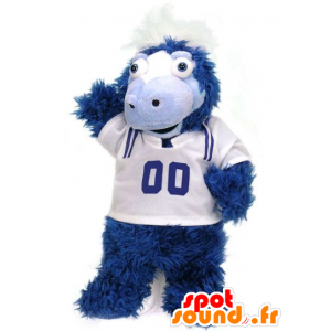 Colt mascotte, cavallo bianco e blu mentre peloso
