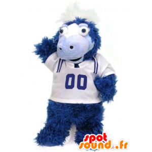 Mascotte de poulain, de cheval bleu et blanc tout poilu